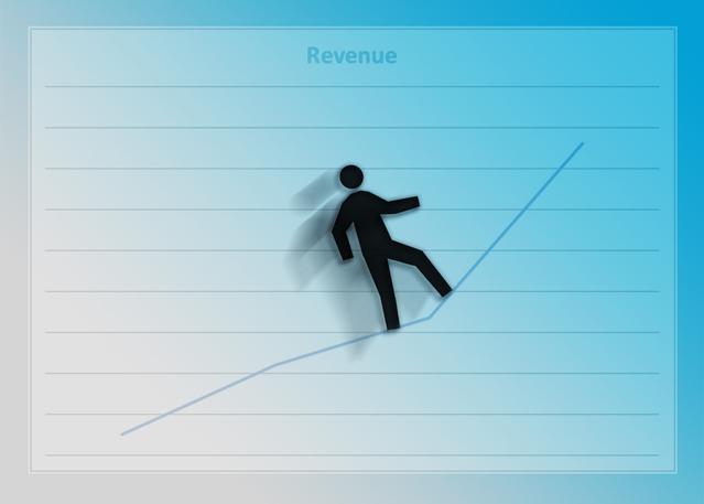 obrázek grafu modrý, černý panáček stojí uprostřed na modré křivce