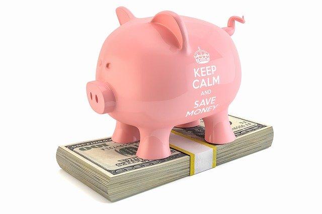 pokladnička prasátko stojící na bankovkách